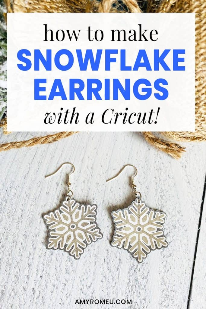silver faux leather snowflake earrings
