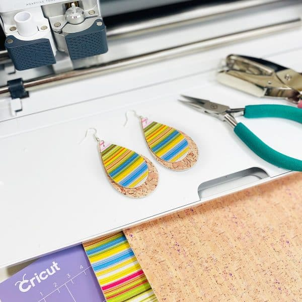 DIY faux leather serape earrings made with a Cricut Maker