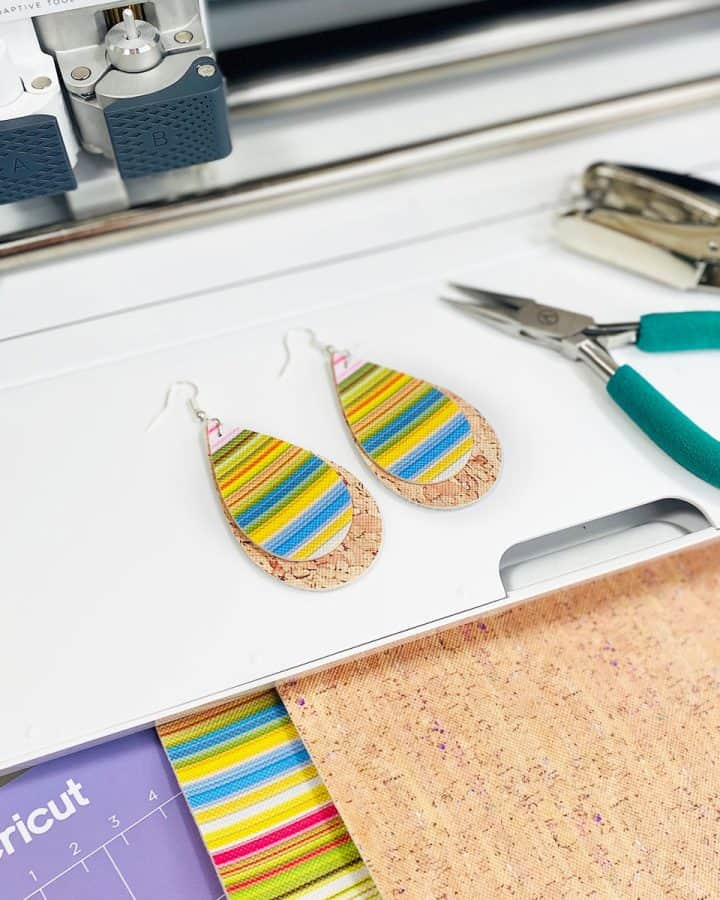DIY faux leather serape earrings made with a Cricut Maker