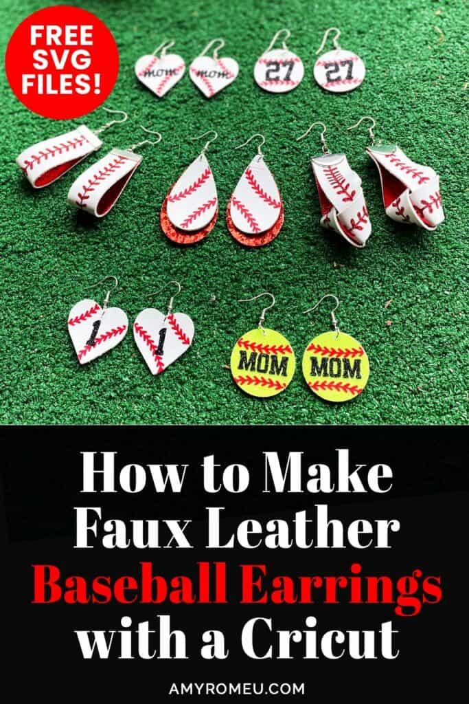 faux leather baseball earrings and softball earrings