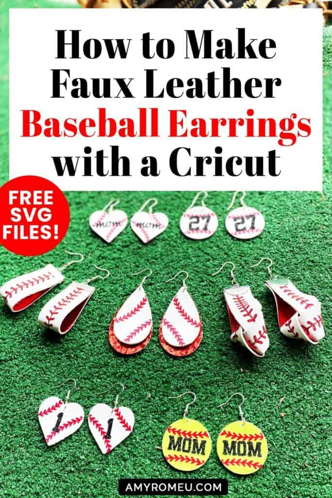 faux leather baseball earrings