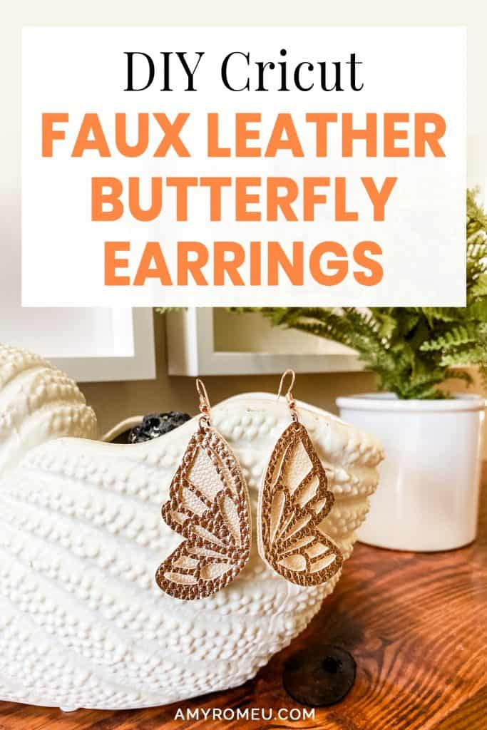 faux leather butterfly wing earrings