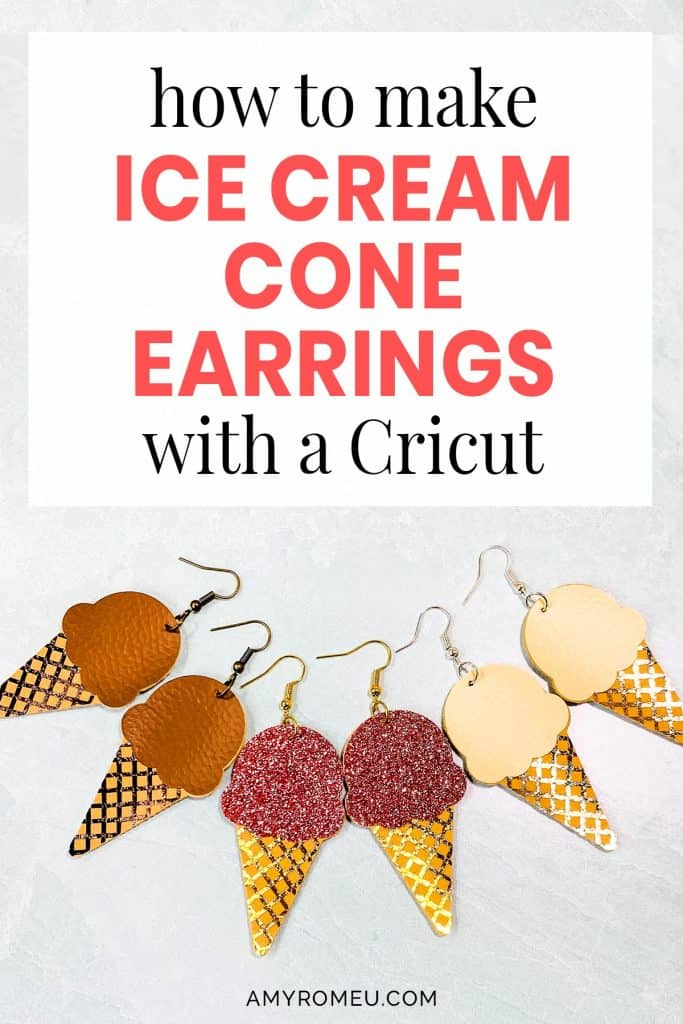 3 pair of ice cream cone faux leather earrings