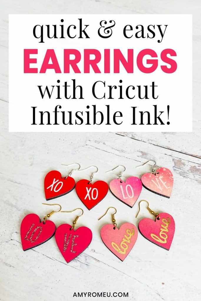 Heart Earrings made with Cricut Infusible Ink