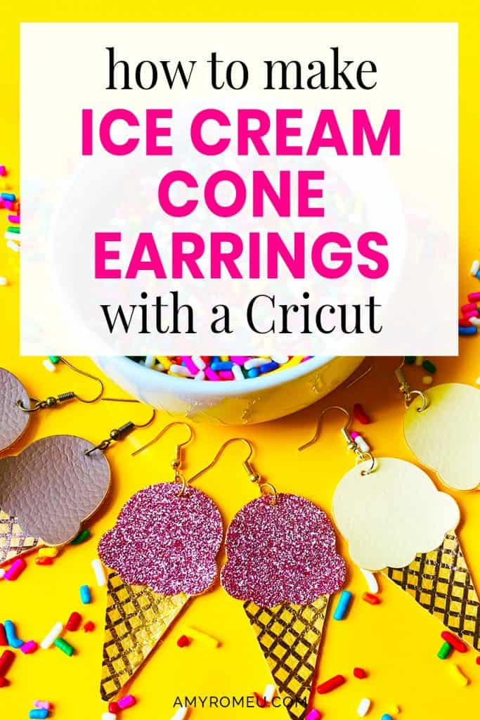 ice cream cone faux leather earrings made with a Cricut