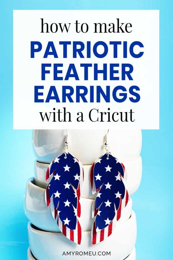 stars and stripes faux leather feather earrings