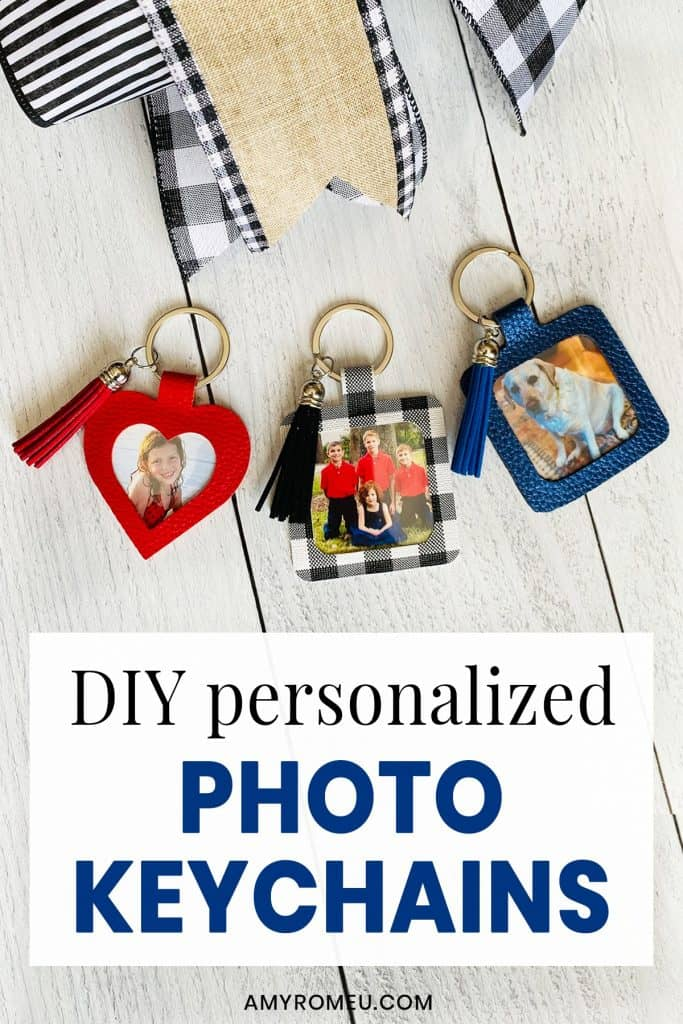 DIY Faux Leather Personalized Photo Keychains