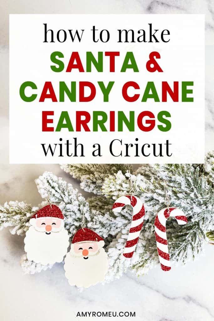 Santa earrings and Candy Cane earrings
