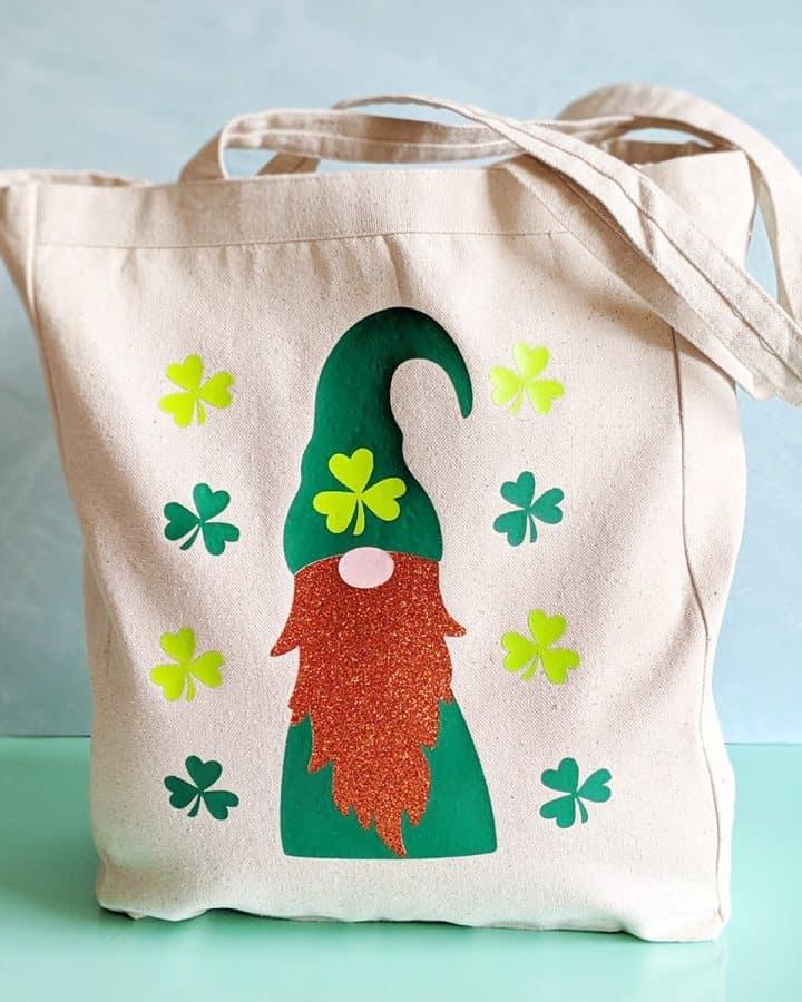 DIY Cricut St. Patrick's Day Leprechaun Tote Bag