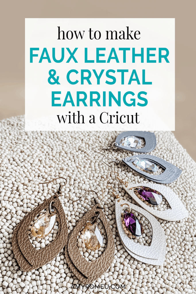 how to make faux leather earrings with crystal charms