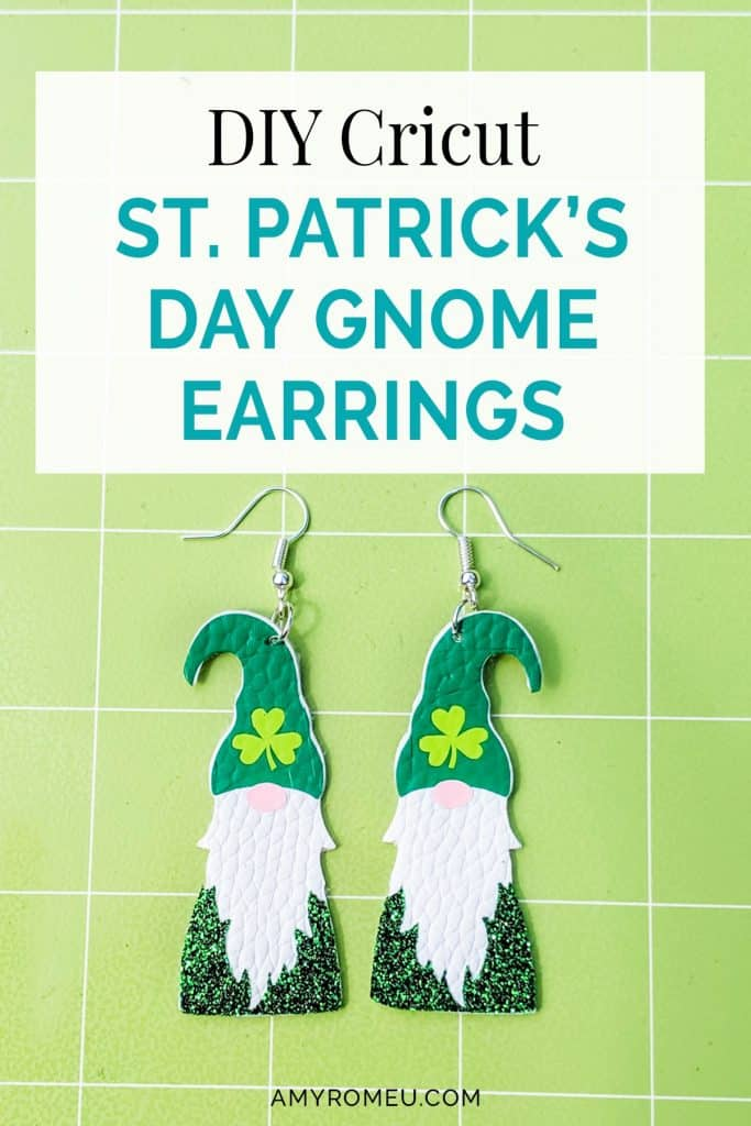 DIY Cricut St. Patrick's Day Gnome Earrings