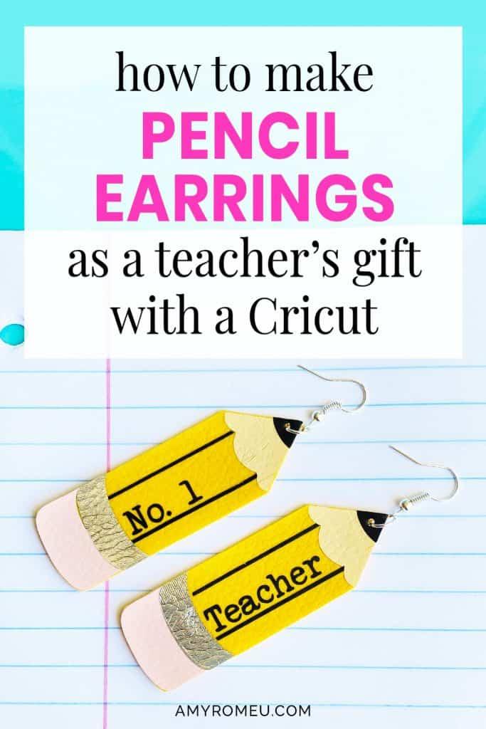 Cricut pencil earrings