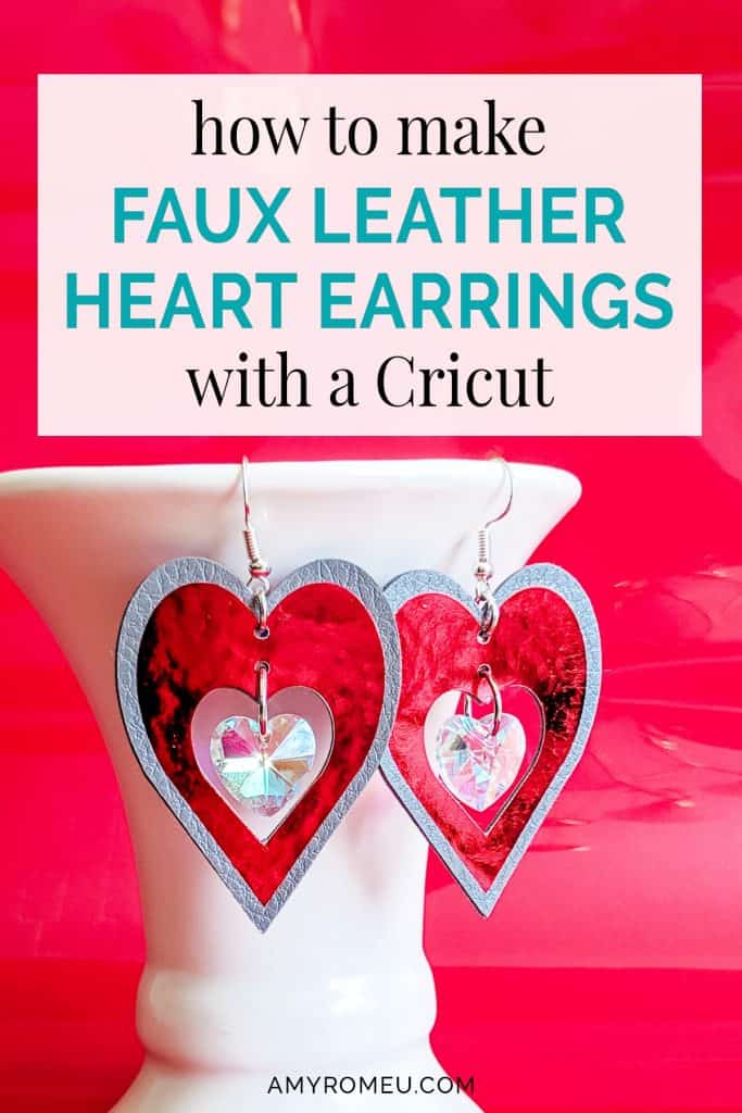 faux leather earrings made with cricut