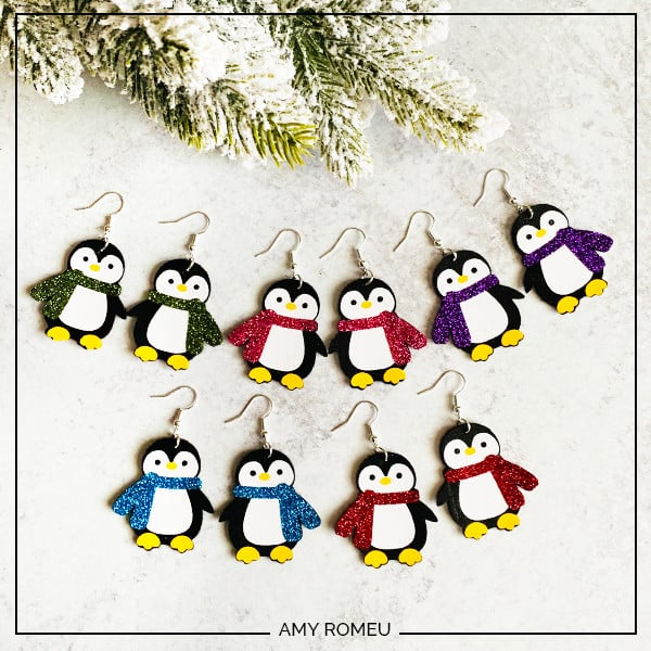 penguin earrings Cricut DIY