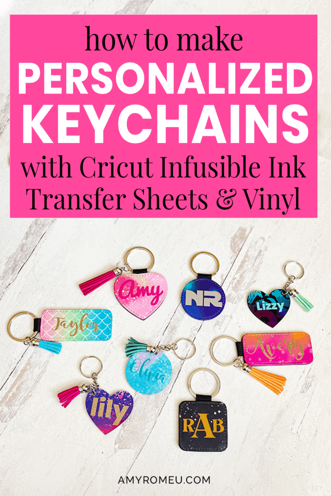 Colorful Personalized Keychains made with Cricut Infusible Ink