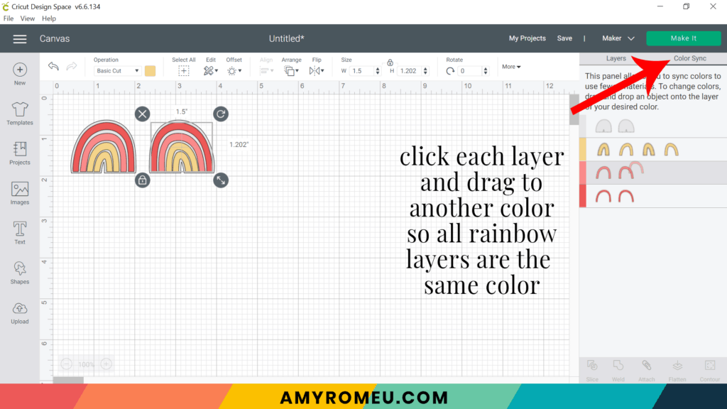 using color sync in Cricut Design Space