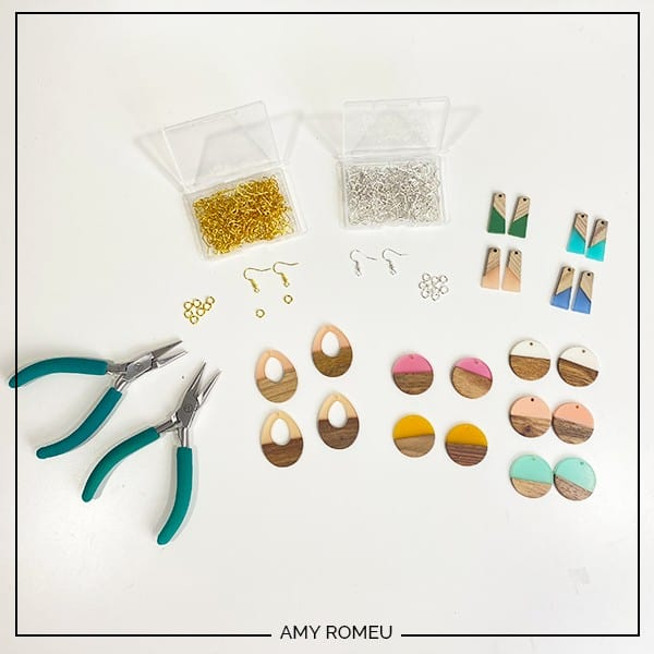 easy wood and resin earring materials
