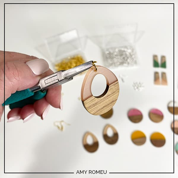 attaching a jump ring to wood and resin earring blank