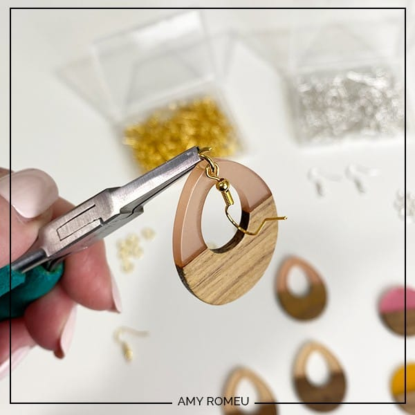 attaching an earring hook to wood and resin earrings