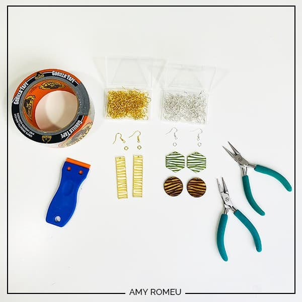 materials needed to make acrylic and wood earrings with Glowforge
