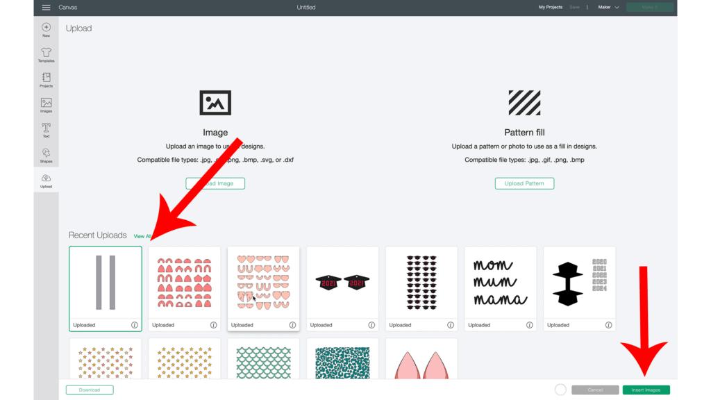 faux leather key fob wristlet tutorial uploading to Cricut Design Space