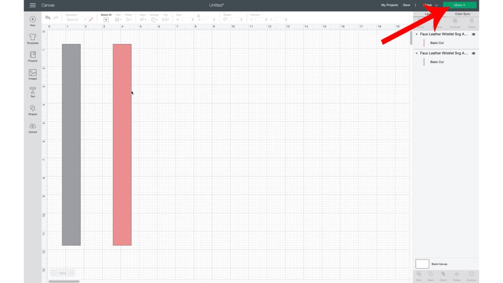 uploading key fob wristlet SVG to Cricut Design Space