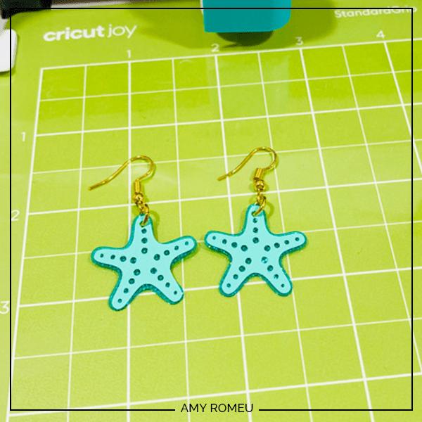 starfish earrings made with a Cricut Joy