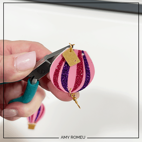 adding basket to hot air balloon earrings