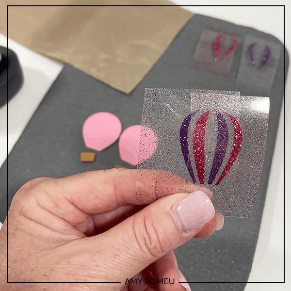 glitter vinyl layers for hot air balloon earrings