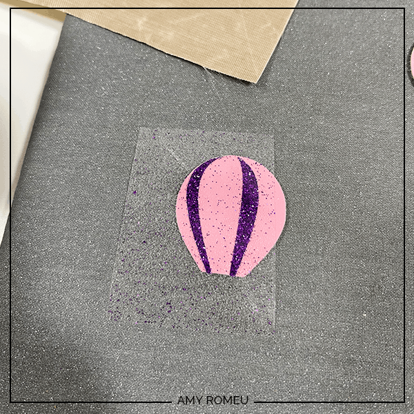 pressing vinyl onto faux leather for hot air balloon earrings