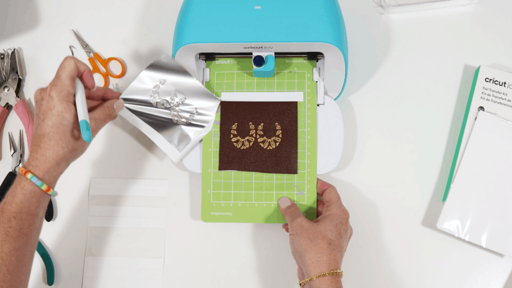 removing foil from faux leather on Cricut Joy