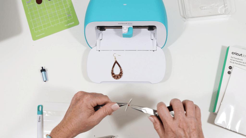 attaching earring hooks to foiled Cricut Joy earrings