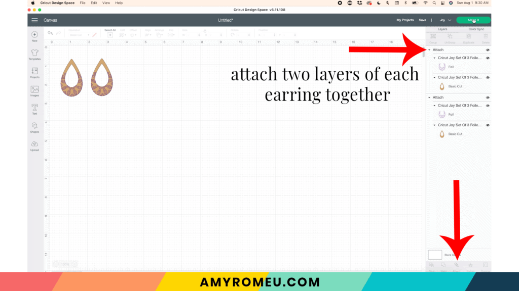attaching foiled layers in Cricut Design Space