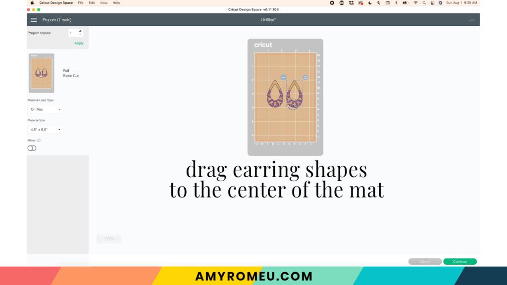 Cricut Joy foiled earring mat preview screen