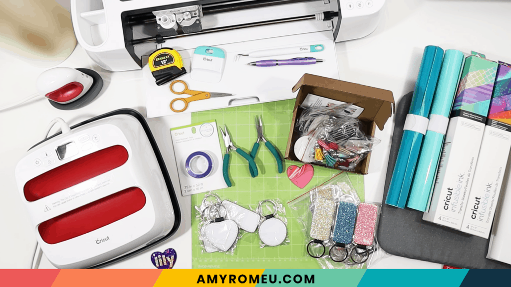 materials needed for infusible ink keychain diy project