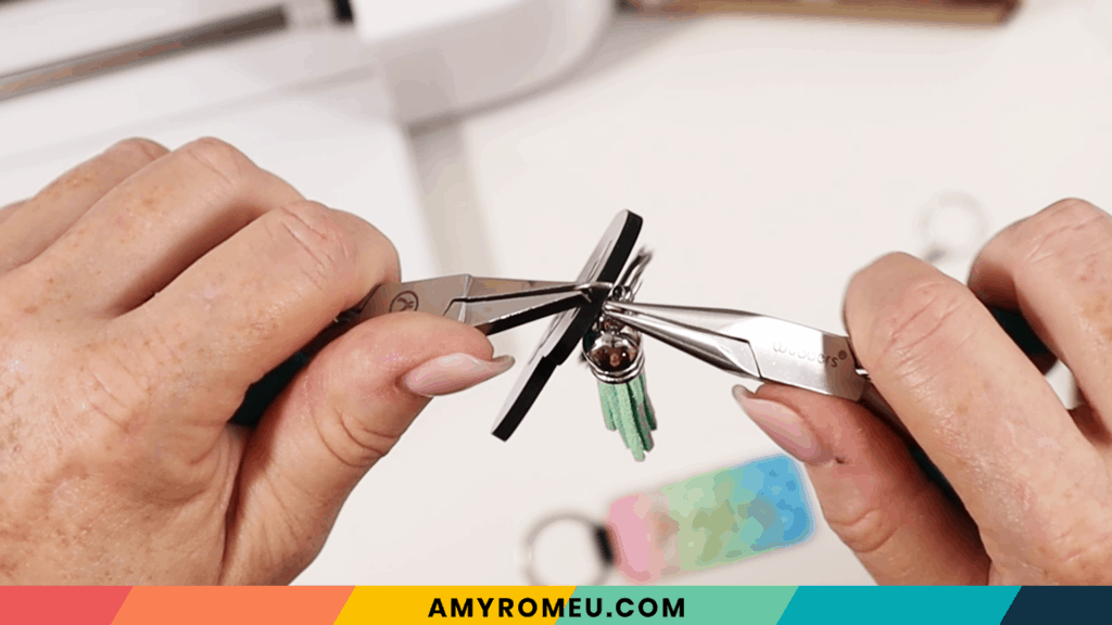 attaching keychain tassel with pliers