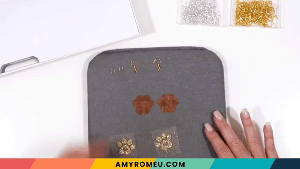 layering vinyl and cork faux leather for paw print earrings
