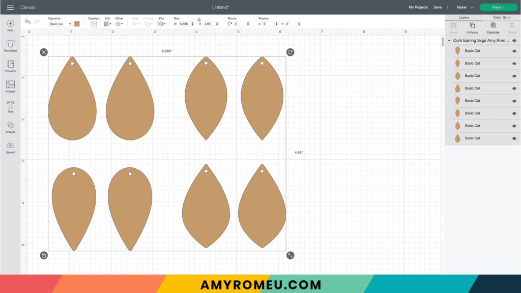 cork earring SVG shapes on canvas