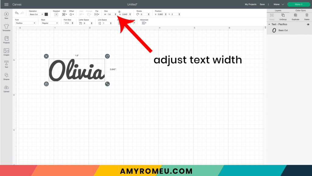 using the text tool for infusible ink marker keychain project