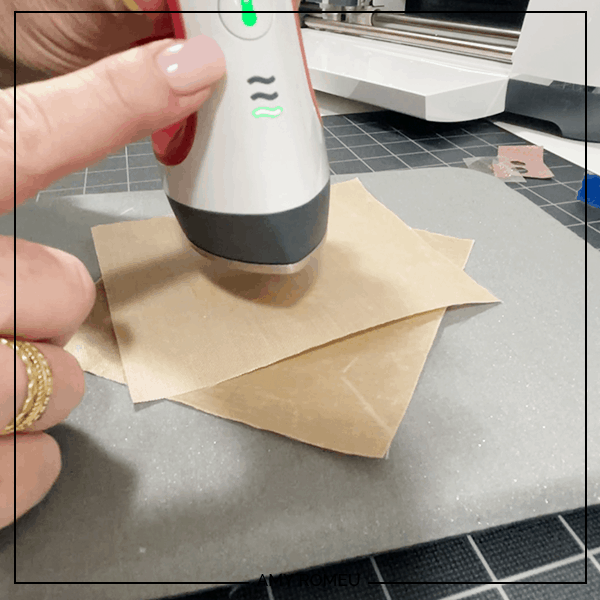pressing faux leather sunflower petals flat