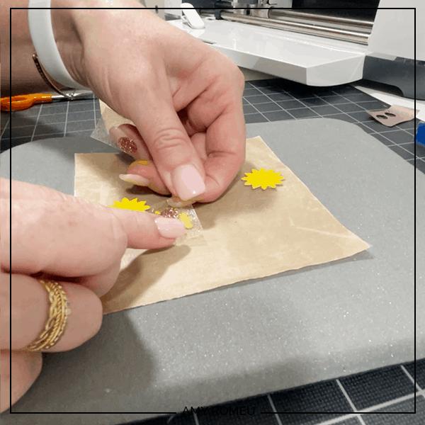 presssing vinyl flower circle to sunflower earrings
