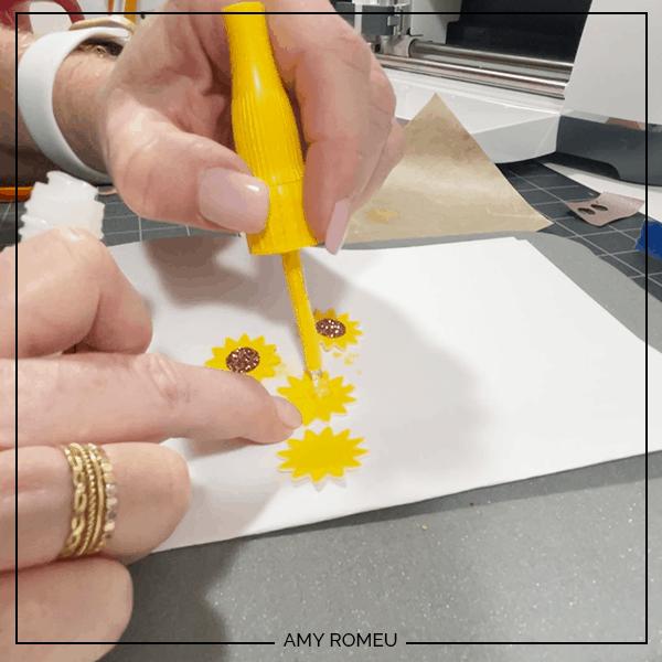 gluing sunflower petal layers