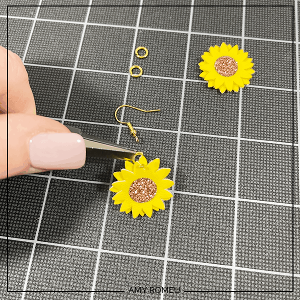 attaching earring hooks to sunflower earrings