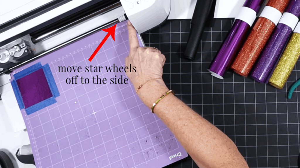 moving star wheels to side for faux leather earrings
