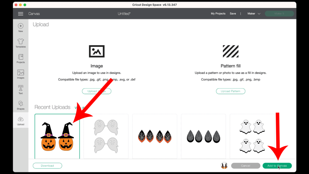 uploading design to Cricut Design Space