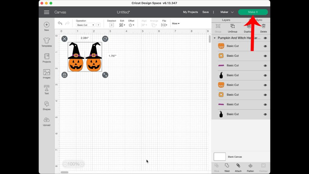 Halloween pumpkin earrings on canvas in Design Space