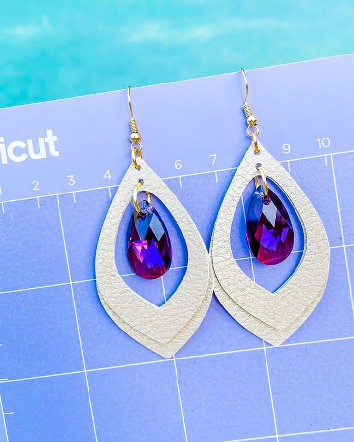 Cricut Faux Leather & Crystal Earrings