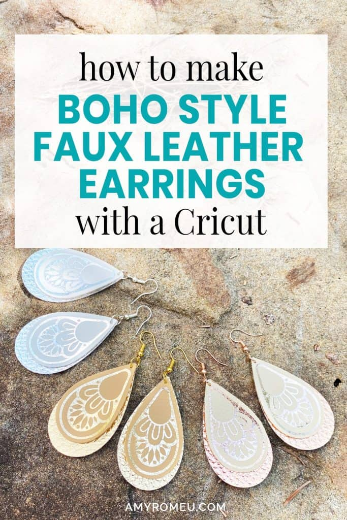 DIY boho earrings faux leather Cricut