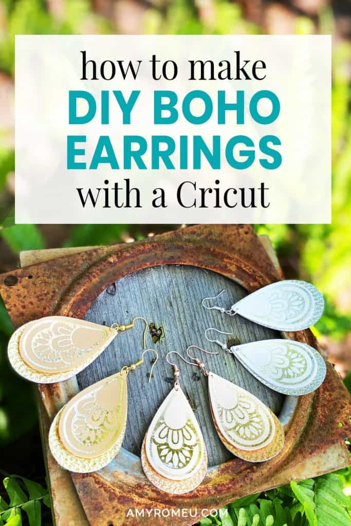 DIY faux leather earrings in bohemian style