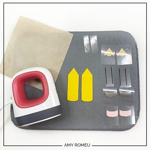 cricut easy press mini, vinyl shapes, and teflon cover sheet and pressing pad